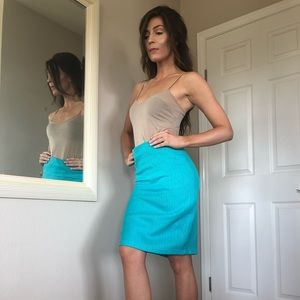 Turquoise, tweed, pencil skirt